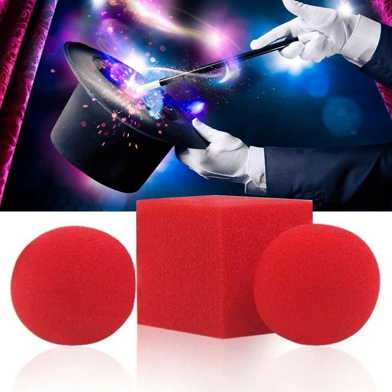 1 Block 2 Elastic Sponge Magic Balls Props Close Up Street Classical Illusion Magic Tricks Comedy Red Magic Toys Easy To Learn image