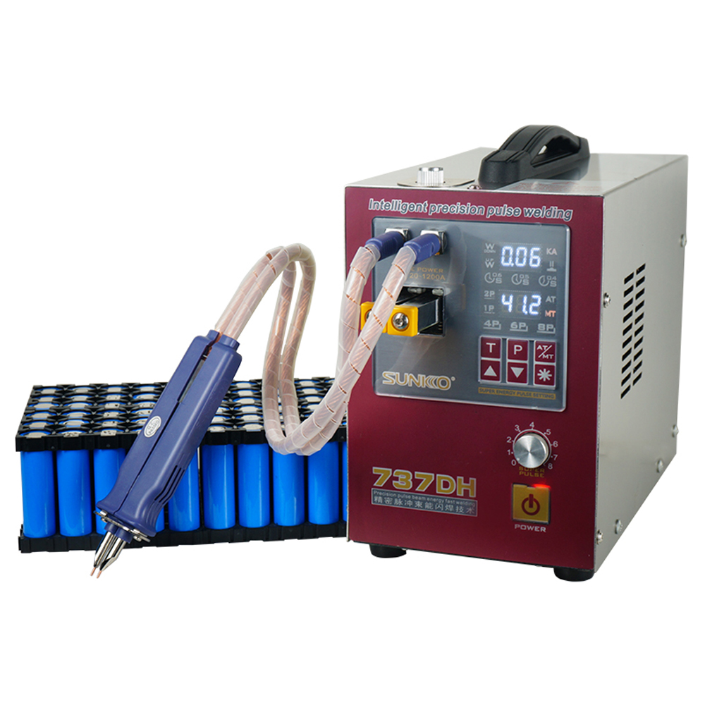 SUNKK 737DH spot welder 4 3KW induction delay touch welding machine small 18650 lithium battery spot welding machine nickel Stri