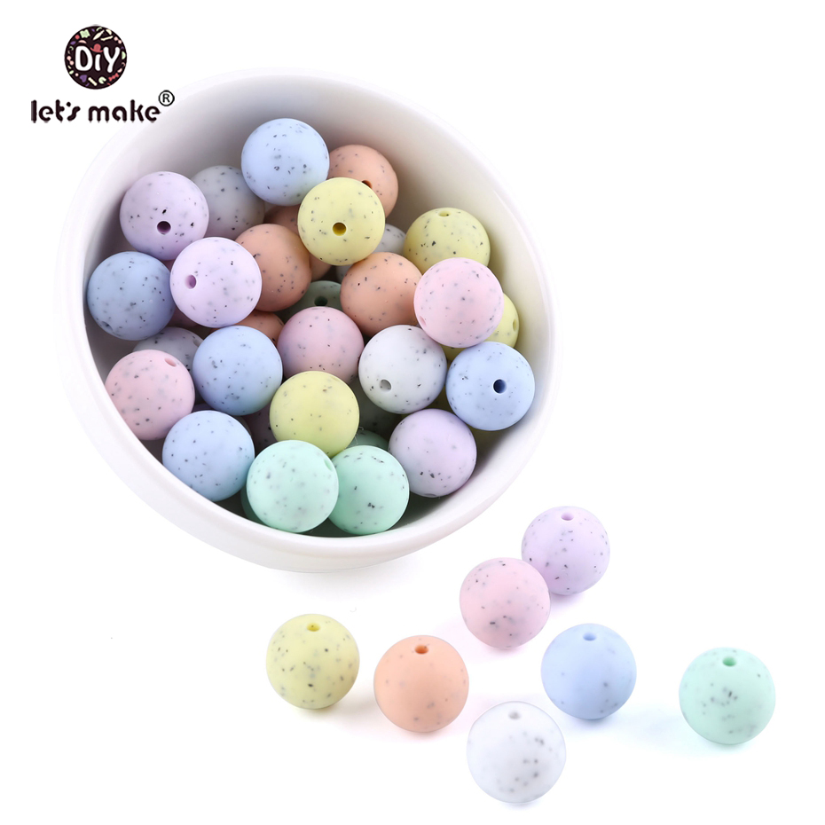 Let's Make 15mm 100pcs/lot Baby Teether Silicone Beads DIY Crib Rattle Toys Granite Style BPA Free Teether Beads Sensory Toys