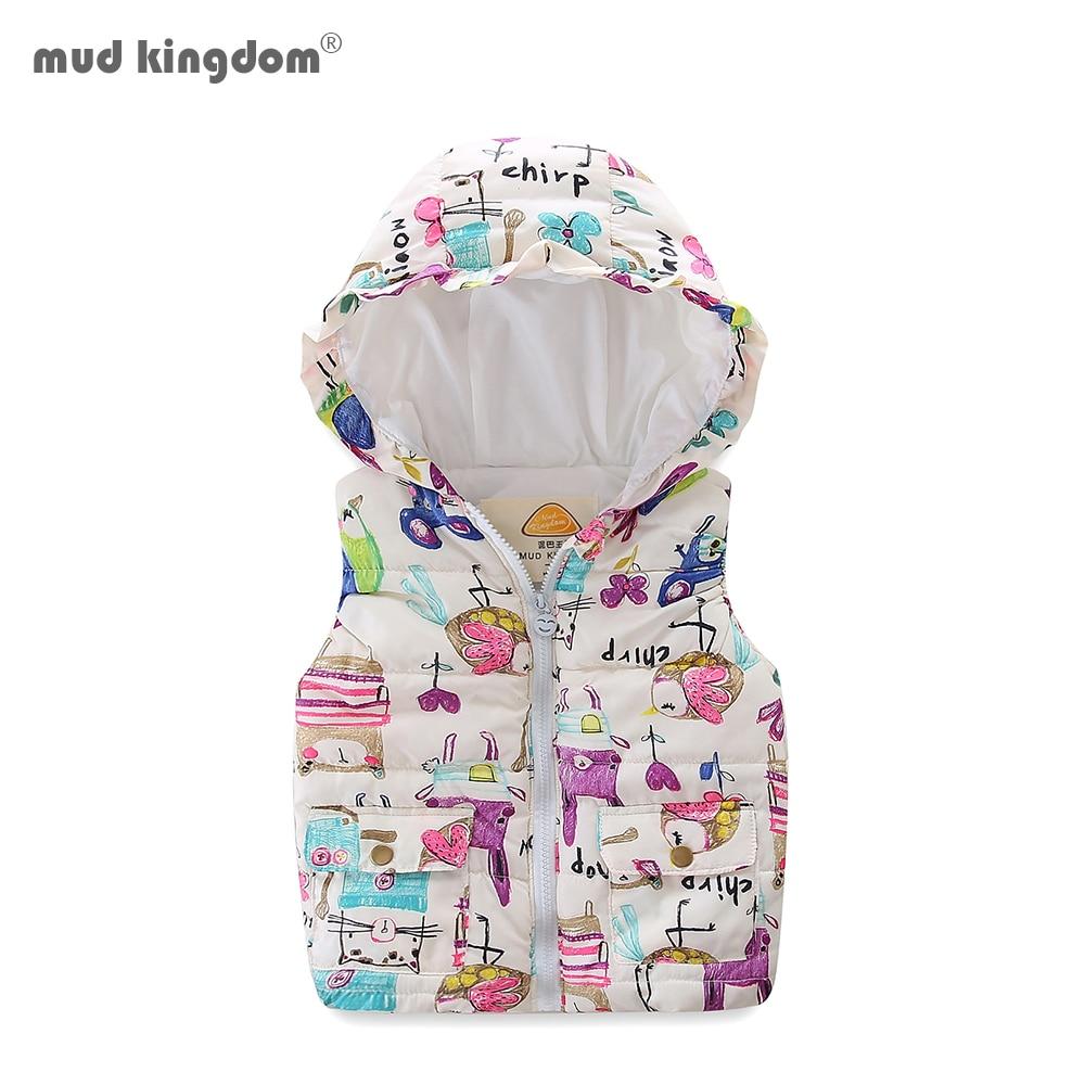 Mudkingdom Boys Girls Hooded Vest Sleeveless Hooded Wool Vest Jacket Cartoon Print Coat Kids Warm Cashmere Vest Outwear Clothes 2