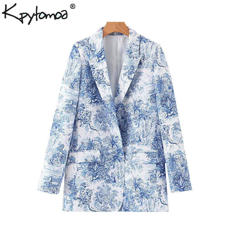 Vintage Stylish Ethnic Style Print Pockets Blazers Coat Women 2019 Fashion Notched Long Sleeve Outerwear Casual Chaqueta Mujer