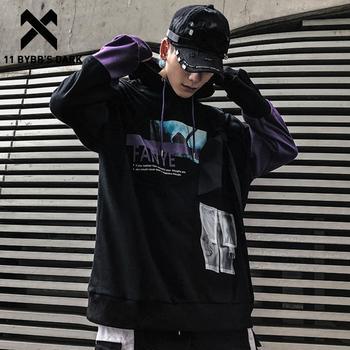 11 BYBB'S DARK Hip Hop Patchwork Letter Print Men Hoodie 2020 Harajuku Color Block Pullover Streetwear Casual Hooded Sweatshirts фото