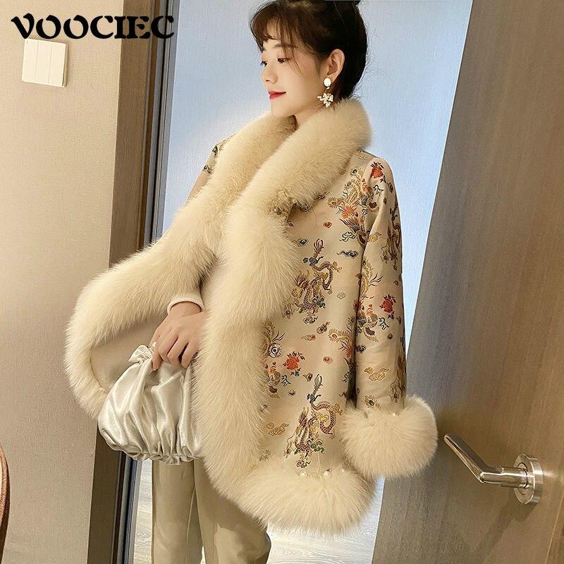 VOOCIEC Winter Woman Warm Fake Fur Jacket Chinese Court Style Tang Suit Fur Coat Woman Vintage Fox Fur Cloak Fake Fur Coat