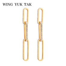 wing yuk tak Classic Golden Geometric Rhinestone Long Dangle Drop Earrings  For Women Vintage Party Jewelry Gift