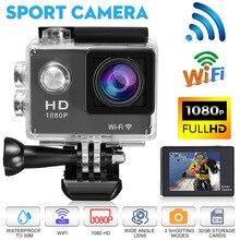 액션 카메라 풀 HD 1080P/ 30fps 와이파이 170 학위 30m 수중 방수 헬멧 비디오 녹화 카메라 1.5 인치 스포츠 캠