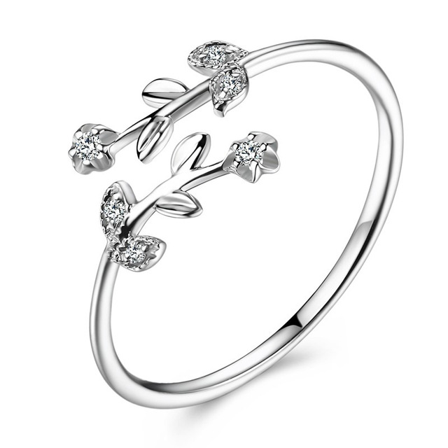 Fancy Leaf Branch Diamond 18K Genuine Real True Solid Gold Rings Bands for Women Girl Elegant Upscale Office Jewelry Gift Party 1