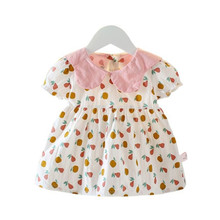 DFXD 2020 Summer Toddler Girls Dress Cotton Petal Collar Short Sleeve Print Doll Dress Baby Girls Princess Dress Vestidos 6M-4T girls button up banana print collar dress