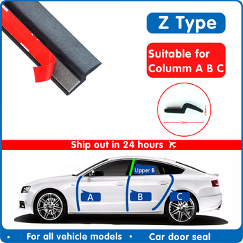 Door Seal Strip Car Rubber Z Type Noise Insulation Weatherstrip Sealing Rubber Strip Trim Auto Rubber Seals Z-shaped Seal
