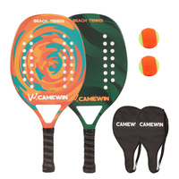 CAMEWIN Casual Beach Tennis Racket (Carbon +Glass Fiber Frame) Paddle Set,2 Paddles,2 Balls,and 2 Cover Bags.