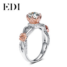 EDI Romantic Series Natural White Topaz Rose Flower Halo Engagement Ring Real 925 Sterling Silver Bead Side Half Eternal Ring(China)