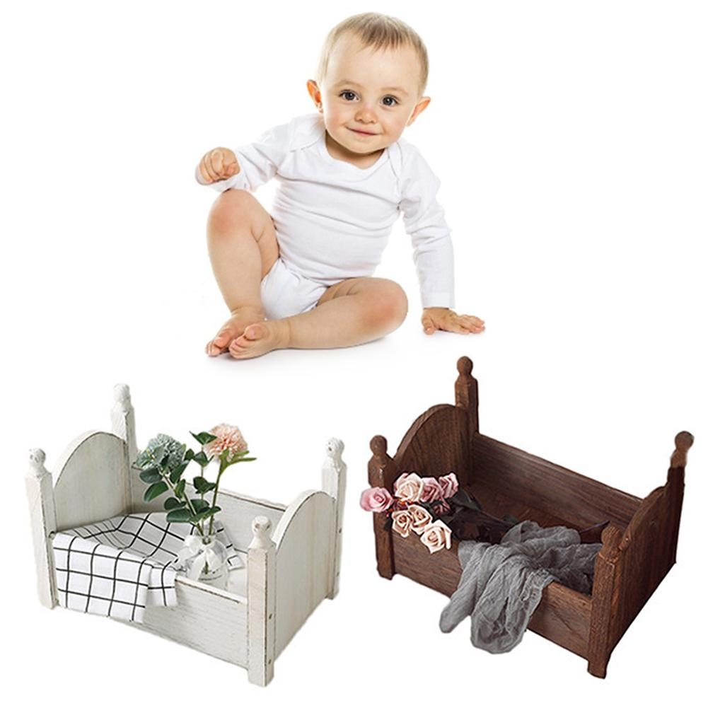 Baby Small Photography Bed Photo Studio Photography Props Newborn Small Wooden Crib For Baby Boys Girls Bedding Supplies