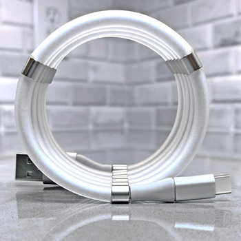 Fast Charge 2.4A Magic Rope Magnetic Data Cable for iPhone Samsung Xiaomi Automatically Retractable Micro USB Type C Phone Cable