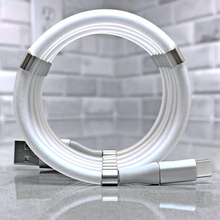 Szybkie ładowanie 2.4A magiczna lina magnetyczny kabel danych dla iPhone Samsung Xiaomi automatycznie chowany kabel telefoniczny Micro USB typu C.