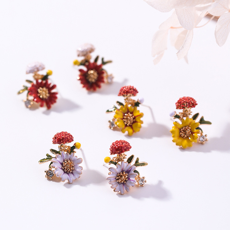 2019 Korean Fashion Jewelry Sweet Drops Mushroom Flowers Leaves Earringsfor women gift