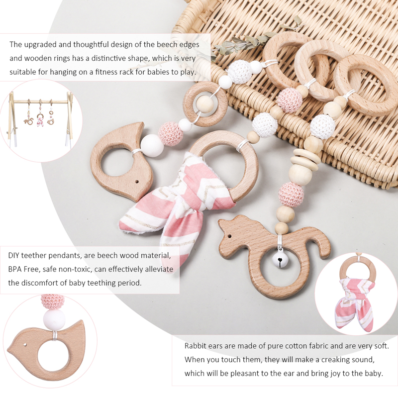 1Set Play Gym Bunny Ear Wood Mobile Rattle Toys Nordic Room Decoration Gift Infant Photography Prop Baby Rattles for Stroller | Happy Baby Mama