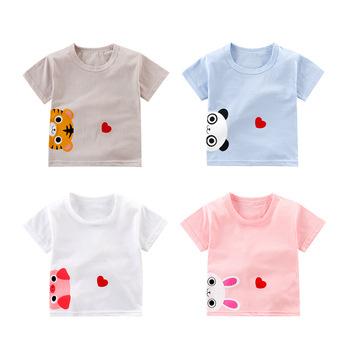 Koszulki dziecięce koszulki z krótkim rękawem dla dzieci koszulki z krótkim rękawem dla dzieci koszulki dla dzieci dziewczęce z nadrukiem Top 100 bawełniane ubrania dla dzieci tanie i dobre opinie W wieku 0-6m 7-12m 13-24m 25-36m Moda CN (pochodzenie) COTTON Unisex Pasuje prawda na wymiar weź swój normalny rozmiar