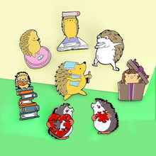 Hedgehog Brooches Enamel Pin Hedgehog Book Dance Weight Scale Reading Books Gift Love Puzzles Brooch Animal Jewelry Badge Pins(China)