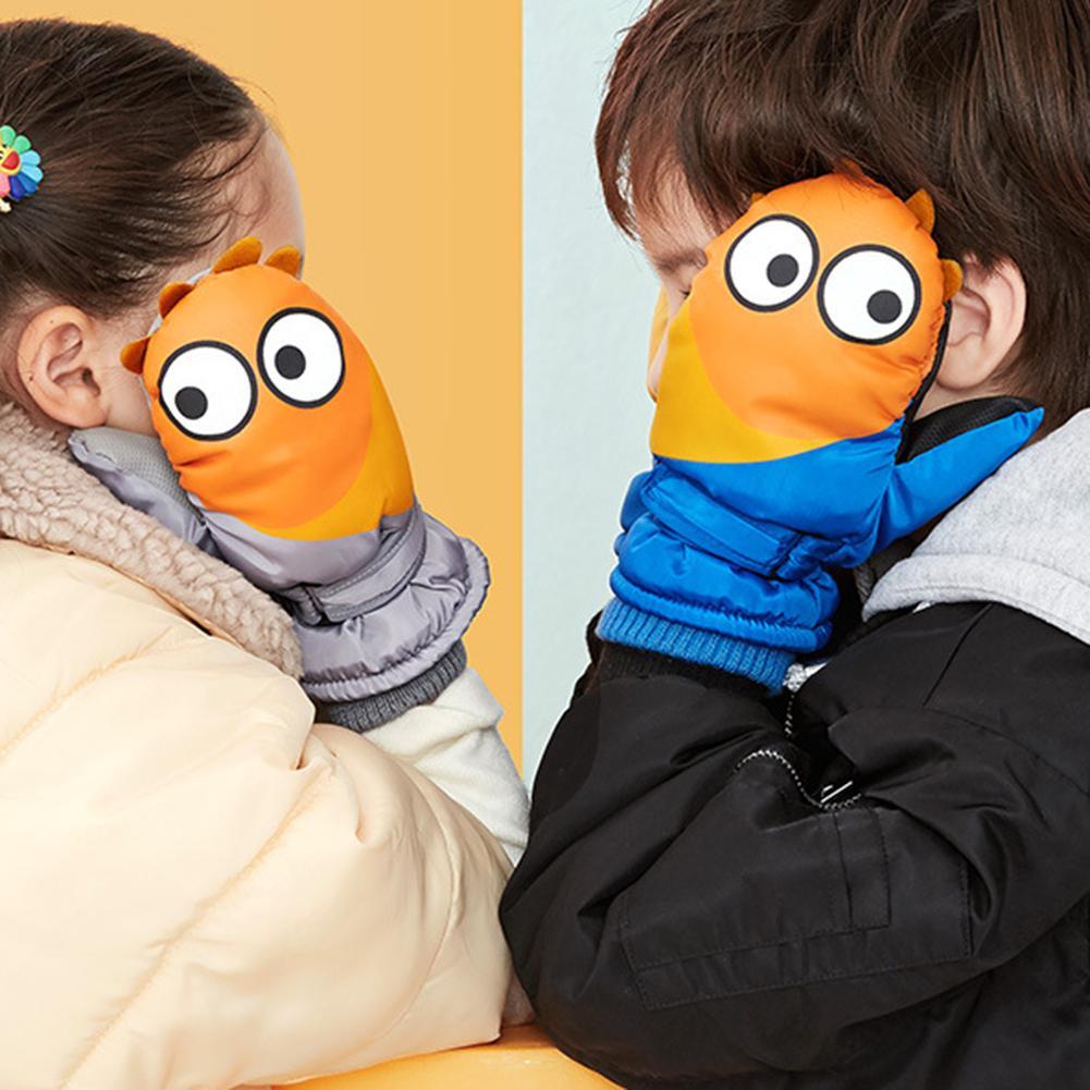 1 Pair Cute Kids Children Winter Waterproof Windproof Thick Warm Snow Ski Snowboarding Mittens Extended Wrist Skiing Gloves