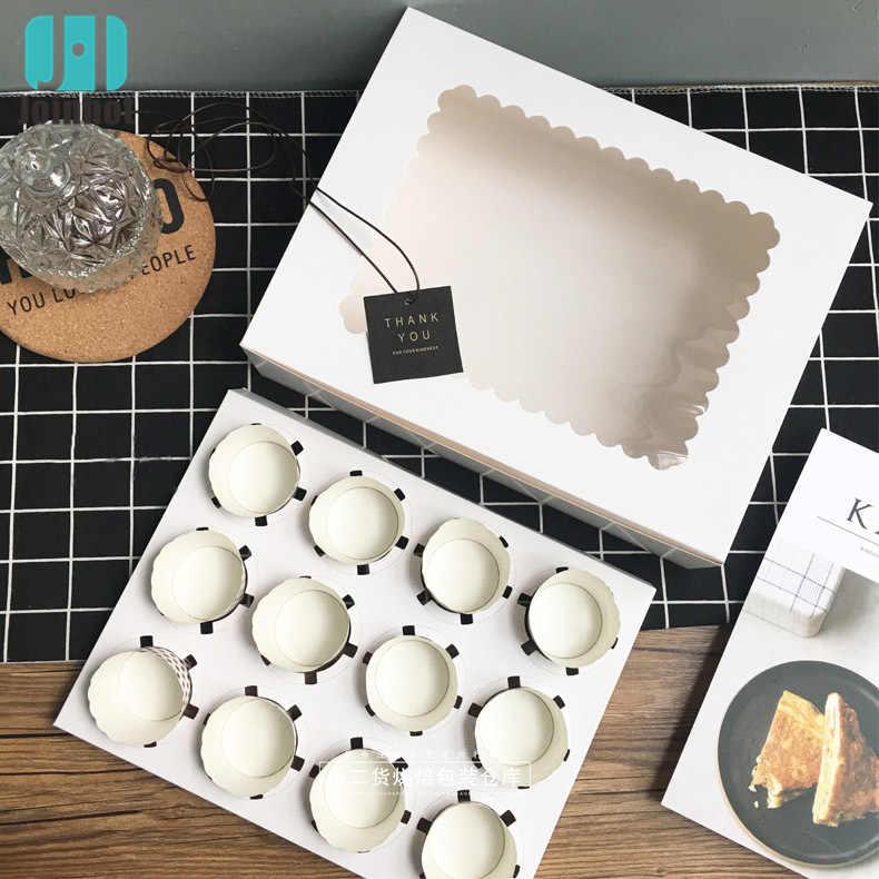 Gratis Product Cupcake Doos Met Venster Wit Bruin Kraftpapier Dozen Dessert Mousse Doos Cup Cake Houders Groothandelaren Aangepaste