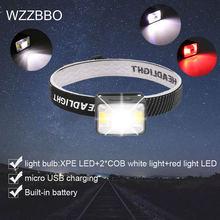 Мощный светодиодный налобный фонарь usb Перезаряжаемый водонепроницаемый