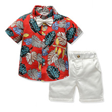 Children Boy Summer Clothing Set Short Sleeve Printed Shirt+Shorts Gentleman Suit kids clothes boys boutique outfits цена 2017