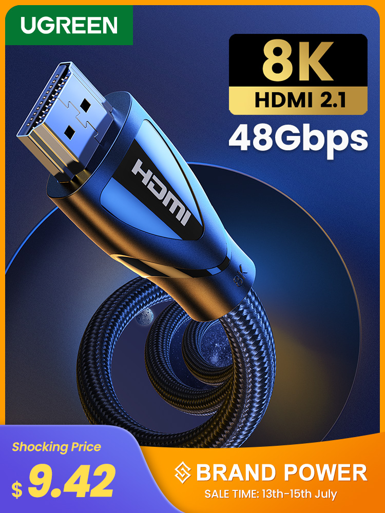 Ugreen Cable HDMI 8k Tv Apple Tv High-Speed PS4 120hz 60hz 4K for Digital Hdr10/Hdmi-2.1
