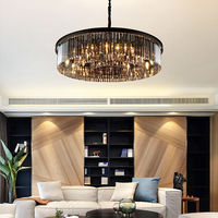2020 Newest Design big black round luxury asfour pendant lamp restaurant living room classic crystal chandeliers ceiling