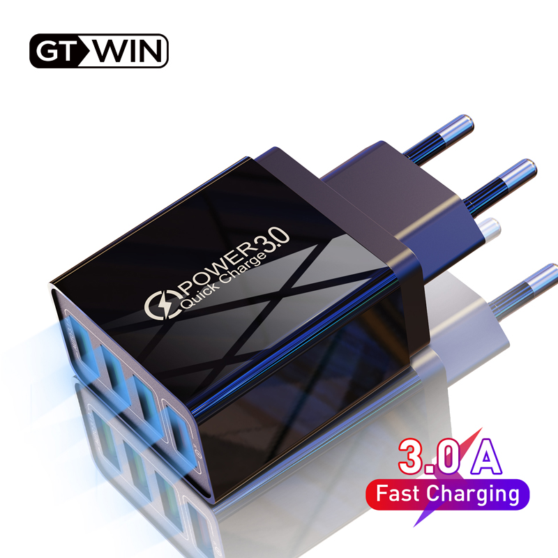 GTWIN 48W USB Charger Quick Charge 3.0 Fast Charging EU UK Plug 3.1A Wall Mobile Phone Adapter For iPhone Samsung Xiaomi Huawei