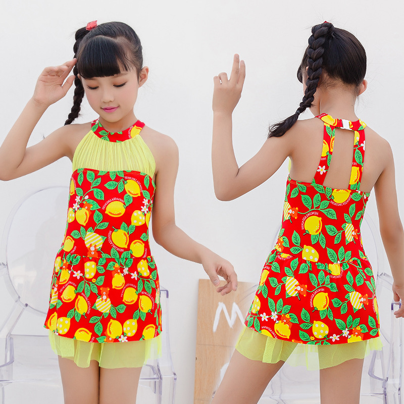 Children One-piece Boxer Printed Bathing Suit Princess Dress-Middle And Large Girls Comfortable Sun-resistant Swimwear Wholesale