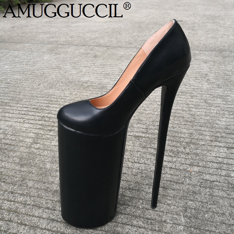 Customize 2020 New Plus Big Size 37-47 Black Fashion Sexy <font><b>30CM</b></font> High <font><b>Heel</b></font> Platform Spring Female Lady Shoes Women Pumps D1303 image
