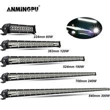 Anmingpu barra de lâmpada led estrada, 60w 120w 180w 240w, para caminhão 4x4 uaz 4wd atv caminhão combo led barra de luz de trabalho 12v 24v