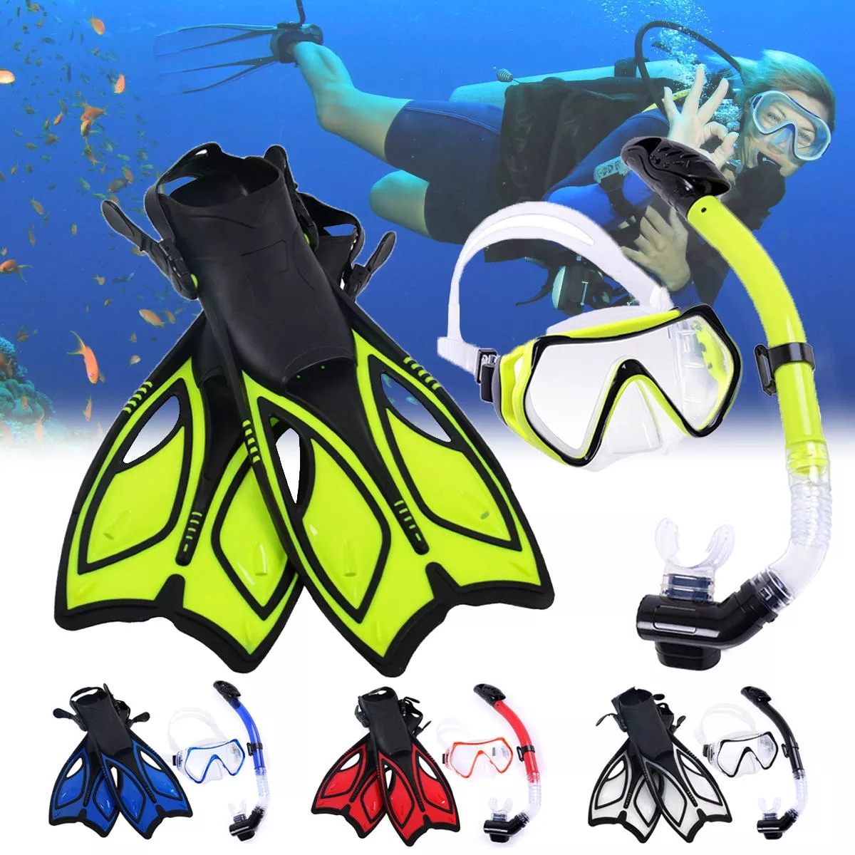 Professional Snorkeling Set Diving Mask+Swimming Fins Flippers+Free Breathing Dry Top Snorkel Set For Adult Youth Foot Fins D25