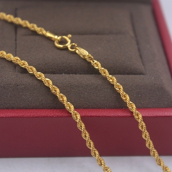 Pure 18k Yellow Gold Chain Unisex Luck 2mmW Rope Link Chain Necklace 18inches 2.61g 3