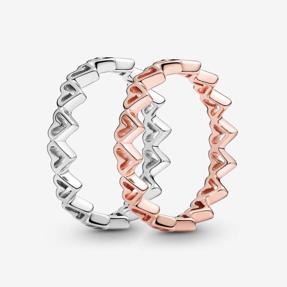 Authentique 925 en argent Sterling princesse diadème couronne étincelant amour coeur, CZ anneaux pour les femmes fiançailles bijoux anniversaire 4