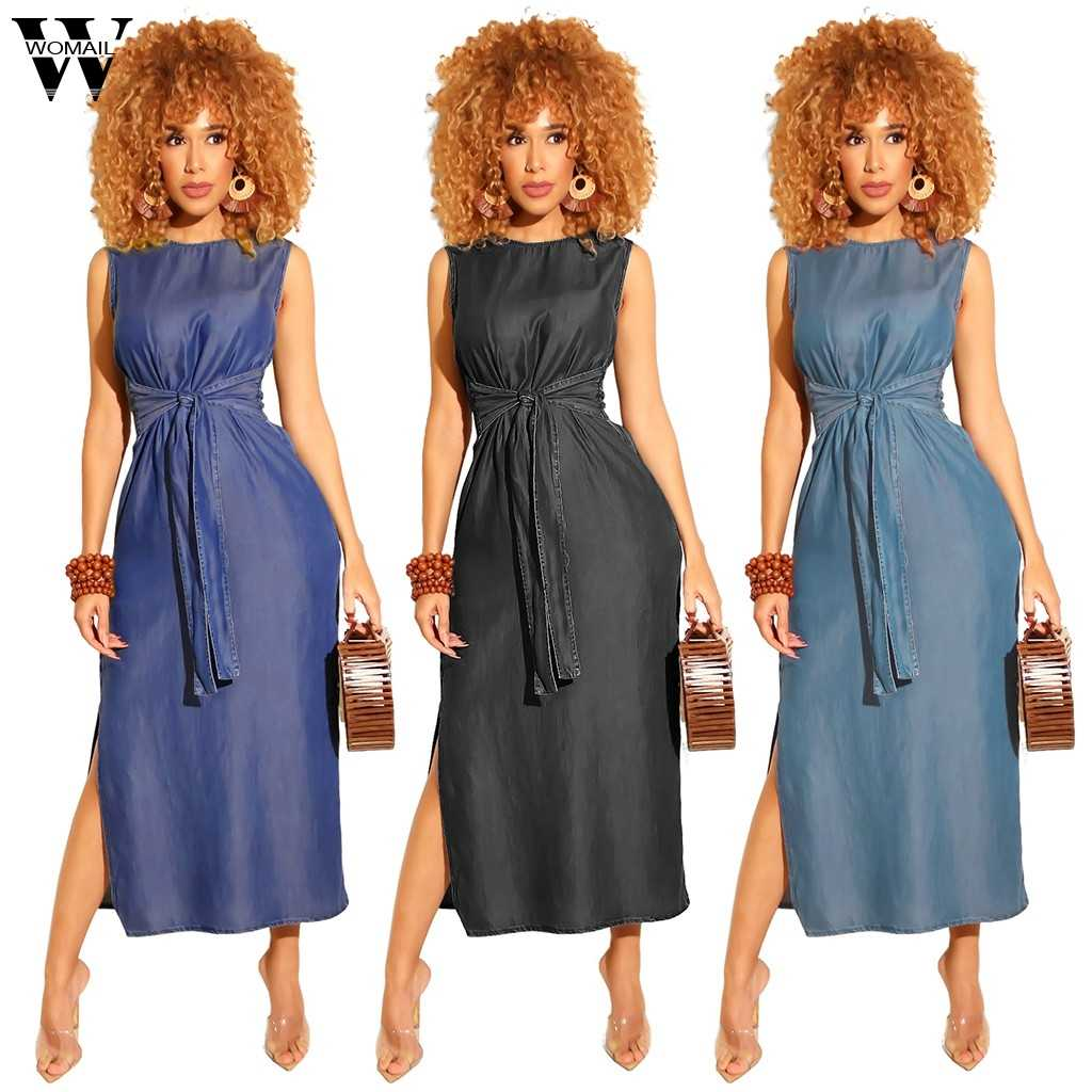Womail Women Sexy Club Suit Sets  Sleeveless Casual Split Dress Ladies With Belt Denim Sundress All Season Womne Suit Sets S-XL