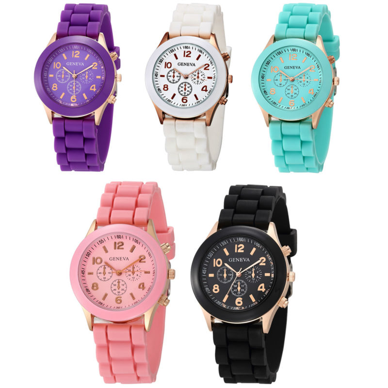 Geneva Brand Candy-colored Silicone Strap Round Watches Hot Women Girl Ladies Dress Jelly Quartz Wrist Watch Relogio Feminino