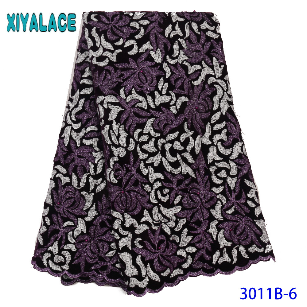 African French Velvet Lace Fabric High Quality Embroidery Nigerian Velvet Lace Fabric With Sequins Beads For Garment KS3011B