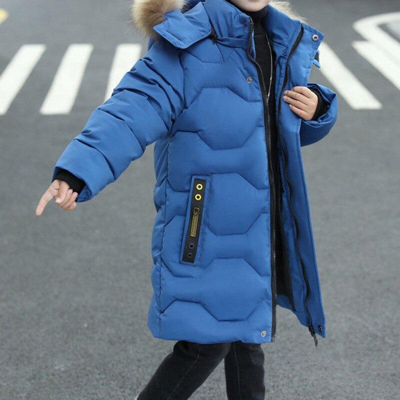 Winter Jackets Boys Long Jacket, Black Coat With Fur Hood Children S