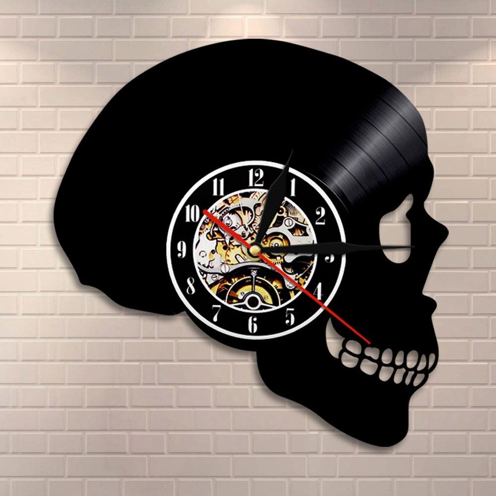 Skull Head Silhouette Wall Clock Skeleton Head Vinyl Record Wall Clock Halloween Horror Death Bone Home Decor Skull Wall Art