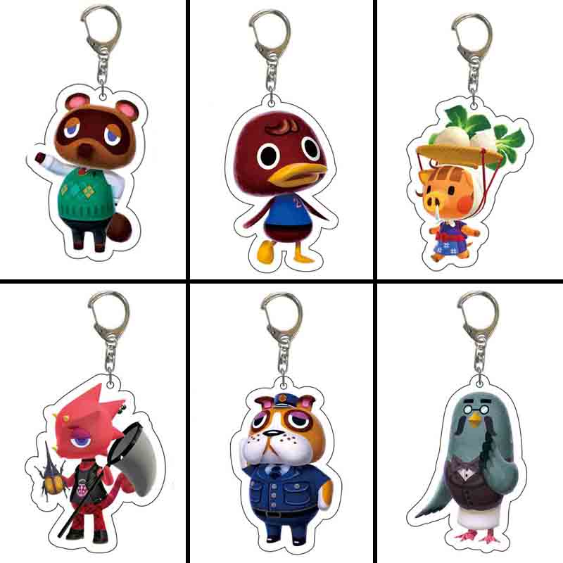 2020 Animal Crossing Keychain Hot Game Kawaii Animal Acrylic Pendant Keyring Jewelry For Fans