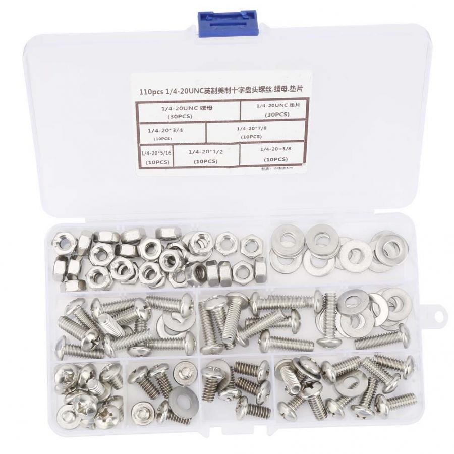 110pcs #1/4-20UNC Stainless Self Tapping screws Cross Pan Head Screws Nuts And Washer Kit Tornillos Cabeza Arandela