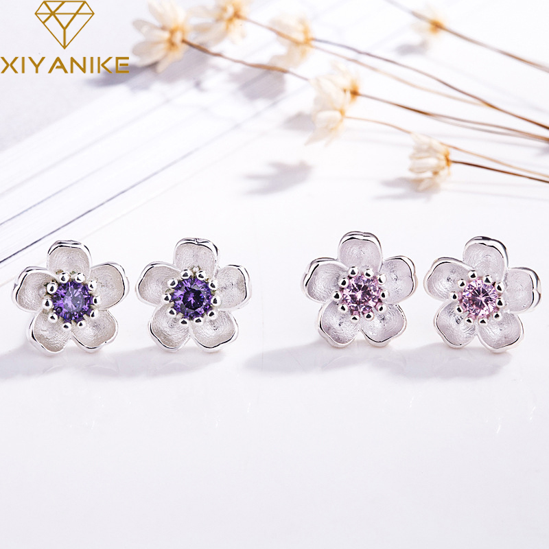 XIYANIKE 925 Sterling Silver Handmade Flower Crystal Stud Earrings For Women Multi-Color Charm Zircon Small Ear Hoops Jewelry