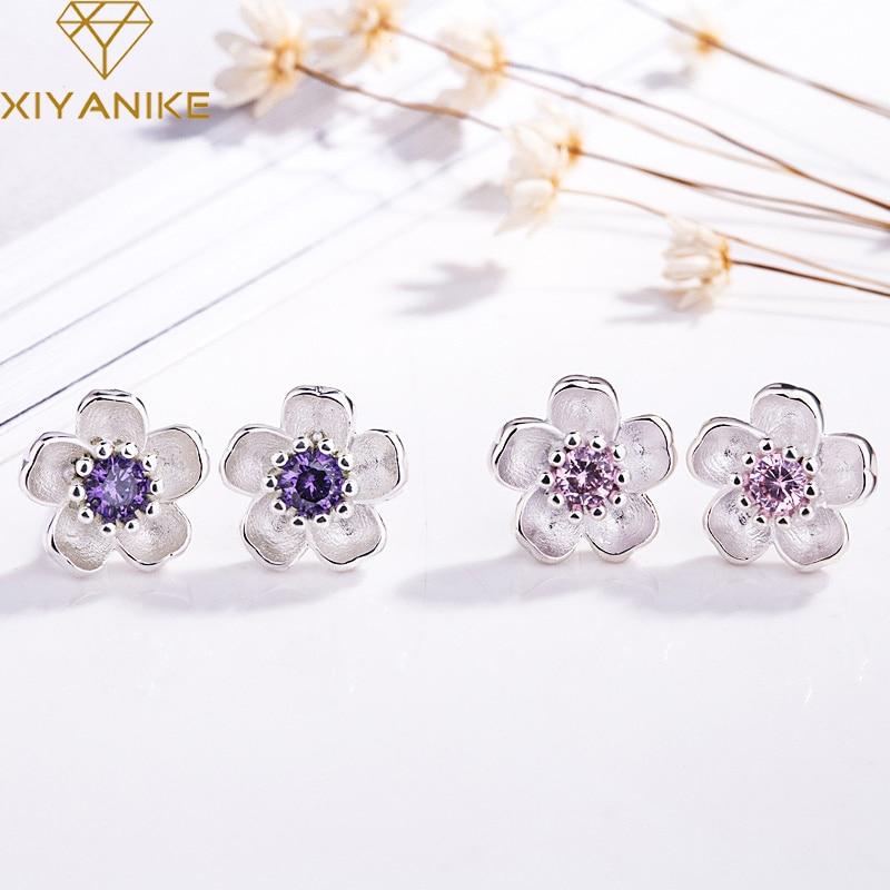 XIYANIKE 925 Sterling Silver Handmade Flower Crystal Stud Earrings For Women Multi-Color Charm Zircon Small Ear Hoops Jewelry