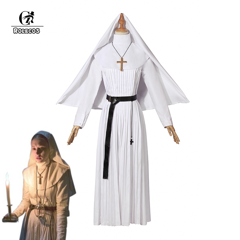 ROLECOS The Conjuring Sister Irene Cosplay Costume The Nun White Cosplay Long Dress Horror Movie Nun Halloween Costume For Women