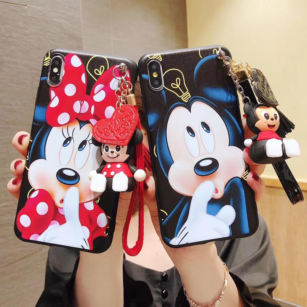 Cartoon Couples Minnie Soft Case For Samsung Galaxy S20 Ultra Plus S10 S9 S8 S7 EDGE S6 Note 10 Plus Note 9 J3 J5 Lanyard Cover
