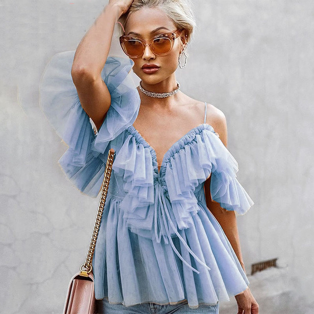 Elegant Ruffle Strap Mesh Summer Blouse Shirt Women Sexy V Neck Off Shoulder Holiday Blouse Top Streetwear Peplum Tops