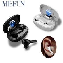 MISFUN TWS 5.0 마이크가있는 무선 헤드폰 6D 스테레오 헤드셋 IPX7 방수 Bluetooth 이어폰 Hifi 스포츠 Bluetooth 이어 버드