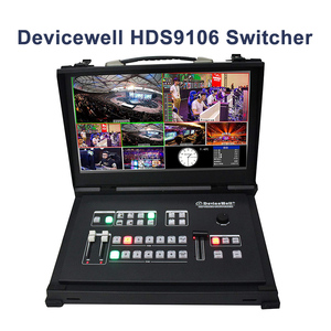 Devicewell HDS9106 9106 Video Guide Switcher with Monitor 6 Channel 4 SDI+2 HDMI Switcher For New Media Live Broadcasts Screen