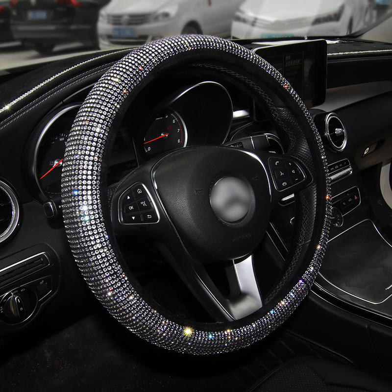 Luxury Crystal Colorful Rhinestone Car Steering Wheel Covers Diamante Rhinestone Car Covered D Shape 38cm