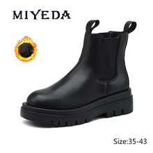 MIYEDA noir plate-forme chaud hiver chaussures pour femmes Martin bottes respirant russie Style mode Ins Cool en peluche cheville Chelsea bottes
